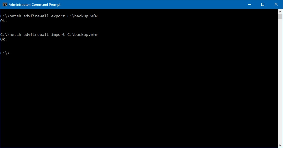 Windows Firewall cmd backup and restore commands